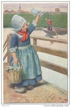 Vintage Greeting Cards, Vintage Postcards, Dutch Wooden Shoes, African Pottery, Love Illustration, Vintage Easter, Vintage Labels, Vintage Children, Cute Art