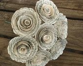 2 inch sized spiral book page rolled roses 7 flower bouquet recycled books