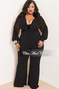 71e7ae80a5f6 Final Sale Plus Size Long Sleeve Deep V-Neck Jumpsuit with Slit Sleeves and Wide  Legs in Black