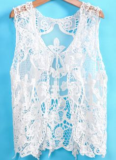 White Sleeveless Floral Crochet Lace Outerwear 27.50