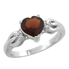 10K White Gold Natural Garnet Ring Heartshape 7x7mm Diamond Accent size 10 * Read more reviews of the product by visiting the link on the image.