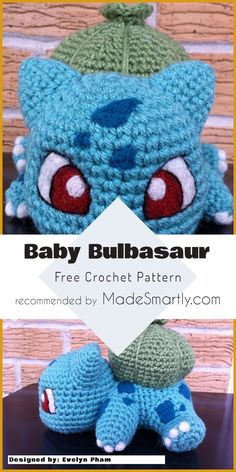 Amigurumi Baby Bulbasaur - Free Crochet Pattern baby toys patterns free 12 Free Toys and Amigurumi Crochet Patterns You Should Try This Summer Pokemon Crochet Pattern, Crochet Amigurumi Free Patterns, Crochet Blanket Patterns, Crochet Dolls, Baby Patterns, Crochet Elephant Pattern Free, Pikachu Crochet, Cute Crochet, Crochet Baby