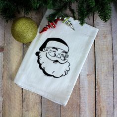 Jolly Santa Flour Sack Towel  Black Ink by GreenBeeKC on Etsy