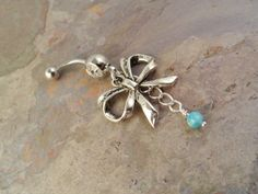 Antiqued Silver Bow Belly Button Ring