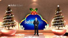 Indoor light color Christmas scene with Christmas tree and bell to create Christmas atmosphere. This virtual set is suitable for Christmas, education and other related scenes. Christmas Colors, Christmas Tree, Christmas Ornaments, Virtual Studio, Tvs, Light Colors, Colorful, Fantasy, Create