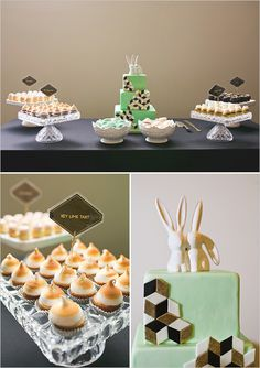 Mint and black wedding ideas. Geometric dessert table.