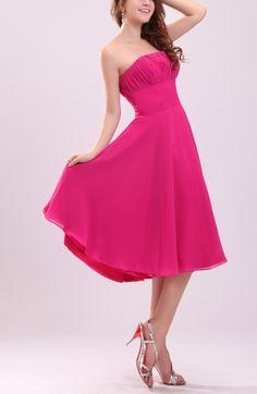 Hot Pink Simple Sleeveless Zipper Chiffon Knee Length Bridesmaid Dresses - iFitDress.com