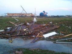 More debris left, after the tornado cut a 6 mile X 1 mile path, of destruction.