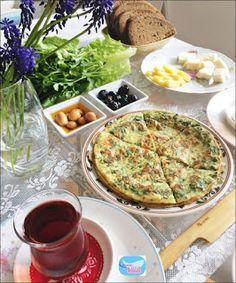 Taze Otlu Kaygana   Leyla'nın Kahve Dükkanı Muffin, Dinner, Breakfast, Dining, Morning Coffee, Food Dinners, Muffins, Cupcakes, Dinners