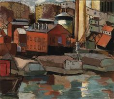 """Riverfront,"" Morris Davidson, ca. 1934, oil on canvas, 21 x 24 1/8"", Smithsonian American Art Museum."