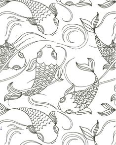 Koi Pond Fish Coloring Page