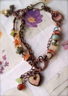 Artisan Bracelet Gemstones Wood Art Tile Boho