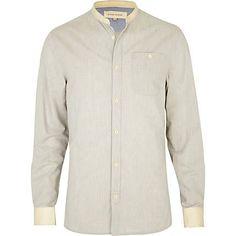 washed blue grandad shirt - long sleeve plain shirts - shirts - men - River Island