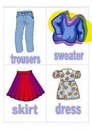 English Worksheets: flashcard clothes 2