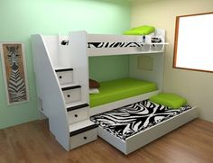 Twin Twin Bunk w Stairs Trundle Kids Bedroom Designs, Bunk Bed Designs, Cute Bedroom Ideas, Kids Room Design, Bunk Beds Built In, Bunk Beds With Stairs, Kids Bunk Beds, Small Room Bedroom, Bedroom Sets