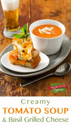 Creamy Tomato Soup and Basil Grilled Cheese are the perfect comfort food match-up for a rainy weeknight dinner or casual Sunday afternoon lunch. This flavorful tomato soup is made for dunking – and it's ready in less than an hour!  Muir Glen Organic tomatoes bring a rich zing to all your recipes.