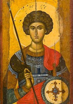 Icon of St George(detail) mid Byzantine & Christian Museum Athens Heaven and Earth: Art of Byzantium from Greek Collections Religious Images, Religious Icons, Religious Art, Byzantine Icons, Byzantine Art, Saint George And The Dragon, Patron Saint Of England, Empire Romain, Russian Icons
