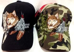 fox with feather adjustable baseball hats Case of 24