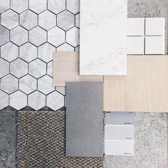 Mood Board - Our beautiful Marble Carrara Marble Splashback tiles, Grey Floor tiles, Marble Bench Tops, Blonde Oak Floors