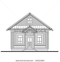 small house entrances | ... of a front facade of small wooden house with entrance - stock vector