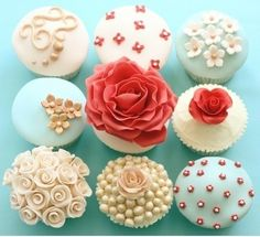 Retro red and blue cupcake designs. retro-wedding summertime-retreat