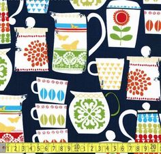 Tea Fabric - Put A Lid On It Night by Michael Miller