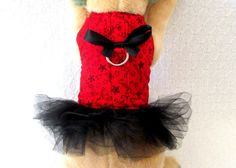 Black Red Tutu Dog Harness Dress Vest Clothes by TheWhitePeacock22