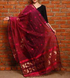 Red Kota Cotton Dupatta With Zari Work