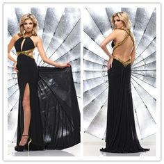 2014 New black beach scoop off-shoulder sleeveless and backless  long chiffon Prom Dress custom-made  FSL-065 $142.99