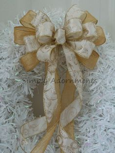 Gold Ivory Christmas Wedding Pew Bow Ivory by SimplyAdornmentsss,