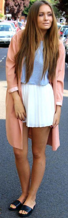 Boohoo White Accordion Pleat A-line Mini Skirt