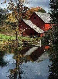 Barn by the pond