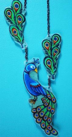 Asymmetrical Peacock Necklace