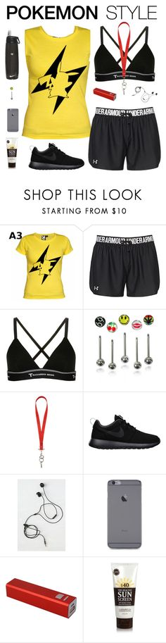 """""""Pokemon go"""" by ninfodora ❤ liked on Polyvore featuring Under Armour, T By Alexander Wang, Givenchy, NIKE, Marshall, Lavanila, Pokemon and PokemonGO"""