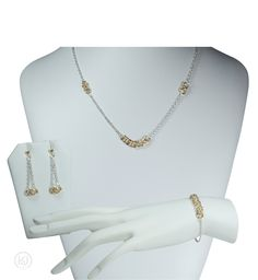 Aylin Helm Weave Lite Gold & Silver Combination Set - includes: The Bracelet, The Earrings, The Necklace, and an optional Free Greeting Card Jewelry Sets, Weave, Greeting Card, Pearl Necklace, Pearls, Bracelets, Earrings, Silver, Gold