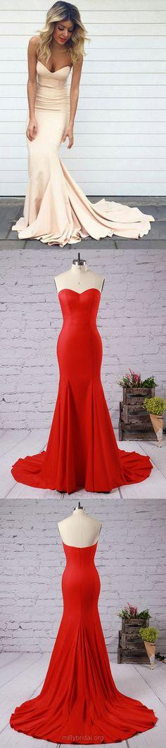 Long Prom Dresses, 2018 Prom Dresses Sweetheart, Sexy Prom Dresses For Teens, Jersey Prom Dresses Trumpet/Mermaid Modest