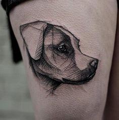 Labrador Tattoo Design by Kamil Mokot
