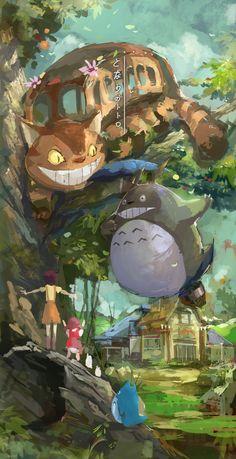 Totoro, catbus, Satsuki and Mei