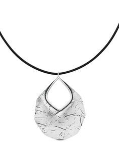 Badge of Beauty Necklace Genuine Leather, Textured Sterling Silver www.SASSYSTERLINGSILVER.COM