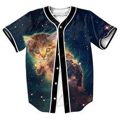 4e00d6e0 Galaxy Baseball Jersey Cute Cat Printed Baseball Shirt Casual Tee shirt  Homme Summer Style Streetwear Hip Hop T Shirt Men