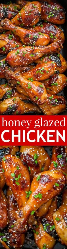 These baked honey glazed chicken drumsticks are finger-lickin' good! The honey-soy glaze makes these juicy chicken drumsticks so flavorful and irresistible | http://natashaskitchen.com
