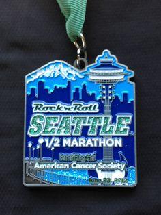 2012 Rock 'n' Roll Seattle Half Marathon Medal Seattle Half Marathon, 10k Races, Sports Medals, Virtual Run, Running Medals, Run Disney, Rock N Roll, Racing, Half Marathons