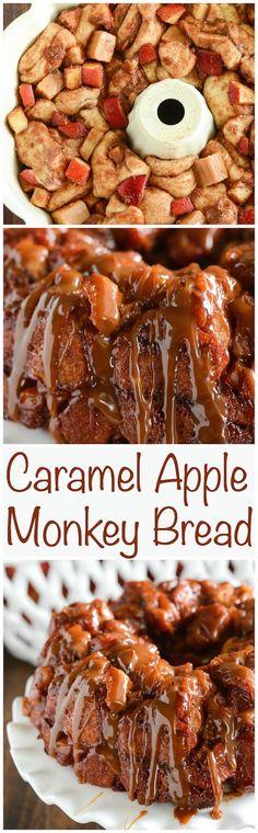 Caramel Apple Monkey Bread - only 6 ingredients! Caramel, fresh apple bites and lots of gooey sweet cinnamon roll bites!