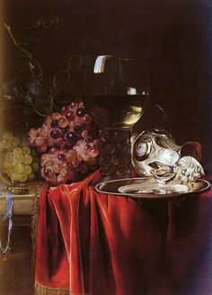 Willem van Aelst - Title: A Still Life of Grapes, a Roemer, a Silver Ewer and a Plate - Original Size: 70,1 x 45,4 cm - Date: 1659 - Buy this painting as premium quality canvas art print from Modarty Art Gallery. #art, #canvas, #design, #painting, #print, #poster, #decoration