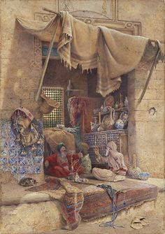 On market, oriental painting Empire Ottoman, Arabian Art, Old Egypt, Cairo Egypt, Islamic Paintings, Pics Art, Realistic Paintings, Arabian Nights, Arabesque