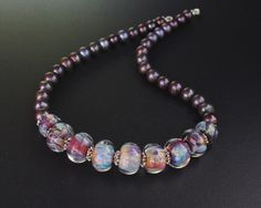 Lampwork, pearls and silver necklace