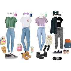 90s Grunge/Hipster School outfits featuring Madewell, Uniqlo, Abercrombie & Fitch, HUF, Monki, Forever 21, Timberland, Vans, Billabong and Michael Kors