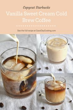 Copycat Starbucks Vanilla Sweet Cream Cold Brew Coffee Recipe - - This copycat Starbucks vanilla sweet cream cold brew recipe will leave your tastebuds thinking they just had a cold brew from Starbucks, without even leaving your own home. Iced Coffee Drinks, Coffee Drink Recipes, Starbucks Recipes, Starbucks Drinks, Healthy Coffee Drinks, Keurig Recipes, Cold Brew Iced Coffee, Decaf Coffee, Starbucks Sweet Cream