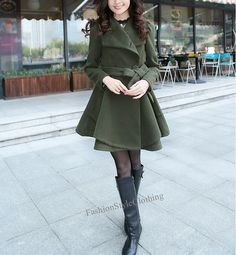Army green Wool coat Long dress Wool by FashionStyleClothing