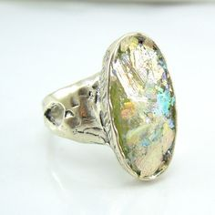 Silver Roman Glass Ring Oval Shape Metalwork Hadas1951